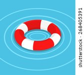 lifebuoy on the water. flat... | Shutterstock .eps vector #268405391