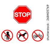 is prohibited. stop sign. trash ... | Shutterstock .eps vector #268405769