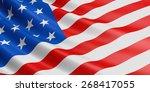 usa flag fluttering in wind. | Shutterstock . vector #268417055