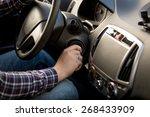 closeup shot of man inserting... | Shutterstock . vector #268433909