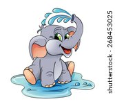 funny cartoon baby elephant... | Shutterstock .eps vector #268453025