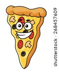 cute slice of cartoon pizza... | Shutterstock . vector #268457609
