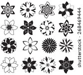 set of sixteen black and white... | Shutterstock .eps vector #268469444
