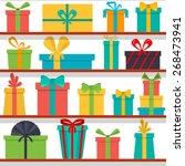 vector seamless pattern of gift ... | Shutterstock .eps vector #268473941