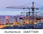 cranes and housing estate. kiev ... | Shutterstock . vector #268477685