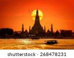 Wat Arun In Sunset At Bangkok...