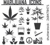 marijuana  cannabis icons....   Shutterstock .eps vector #268478471