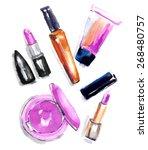 the set of cosmetics....   Shutterstock .eps vector #268480757