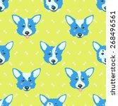 happy dog welsh corgi vector... | Shutterstock .eps vector #268496561