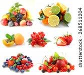set various berries and fruits  ...   Shutterstock . vector #268511204