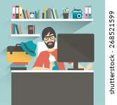 man office workplace. hipster ...   Shutterstock .eps vector #268521599