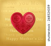 mothers day heart card... | Shutterstock . vector #268524359