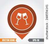 drink glasses icon on map... | Shutterstock .eps vector #268556141