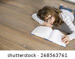 high angle view of teenage girl ... | Shutterstock . vector #268563761