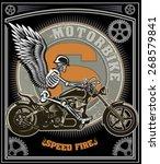 skeleton on motorcycle | Shutterstock .eps vector #268579841