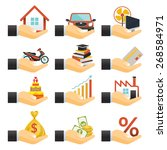 loan  hands with objects credit ... | Shutterstock .eps vector #268584971