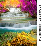 amazing waterfall in colorful... | Shutterstock . vector #268589885