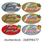 christmas badge. christmas... | Shutterstock . vector #268598177