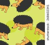 smiling hedgehog seamless... | Shutterstock .eps vector #268602341