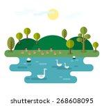 Idyllic Landscape With Lake....