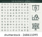 100 business line icons set...