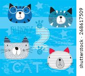 childish pattern with cats... | Shutterstock .eps vector #268617509