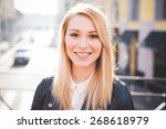 young beautiful blonde straight ... | Shutterstock . vector #268618979