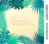 palm leaves frame. retro vector ...   Shutterstock .eps vector #268625885