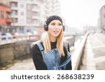 young beautiful blonde straight ... | Shutterstock . vector #268638239