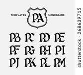 monogram design template with... | Shutterstock .eps vector #268639715