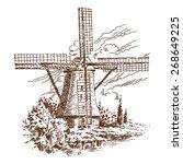 sketch windmill  vector vintage ... | Shutterstock .eps vector #268649225