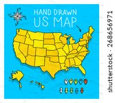 hand drawn us map with pins... | Shutterstock .eps vector #268656971