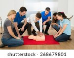 first aid instructor showing... | Shutterstock . vector #268679801