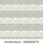 triangles in hatching technique.... | Shutterstock .eps vector #268683674