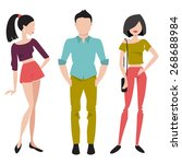 young girl and a guy in a... | Shutterstock .eps vector #268688984