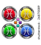 Round shiny vector button with pisces zodiac symbol icon on colorful background - stock vector