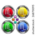 Round shiny vector button with scorpio zodiac symbol icon on colorful background - stock vector
