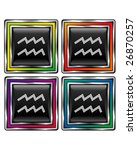 Square shiny vector button with aquarius zodiac icon on black background - stock vector