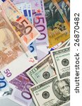 Batch of dollars and Euros - stock photo