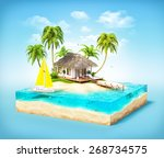 piece of tropical island with... | Shutterstock . vector #268734575