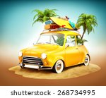 funny retro car with surfboard... | Shutterstock . vector #268734995