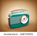 Vintage Radio On Brown...