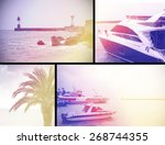 sea boat lighthouse vintage... | Shutterstock . vector #268744355