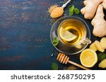 cup of ginger tea with lemon... | Shutterstock . vector #268750295
