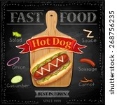 fast food menu   hot dog ... | Shutterstock .eps vector #268756235