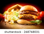 Hamburger With Fries On Wooden...