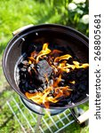 hot burning charcoal  grill on... | Shutterstock . vector #268805681