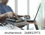 doctor working with laptop... | Shutterstock . vector #268812971