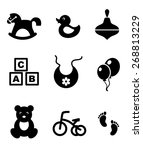 set of nine different black and ... | Shutterstock . vector #268813229