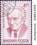 Small photo of HUNGARY - CIRCA 1988: stamp printed by Hungary, shows Albert Szent-Gyorgyi - American biochemist Hungarian origin, circa 1988